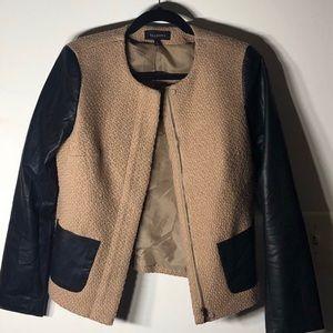 Camel Color Block Leatherette Talbots Jacket